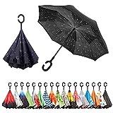 Sumeber Paraguas invertido de doble capa en forma de C con mango invertido, plegable, resistente a los rayos UV, a prueba de viento con bolsa de transporte