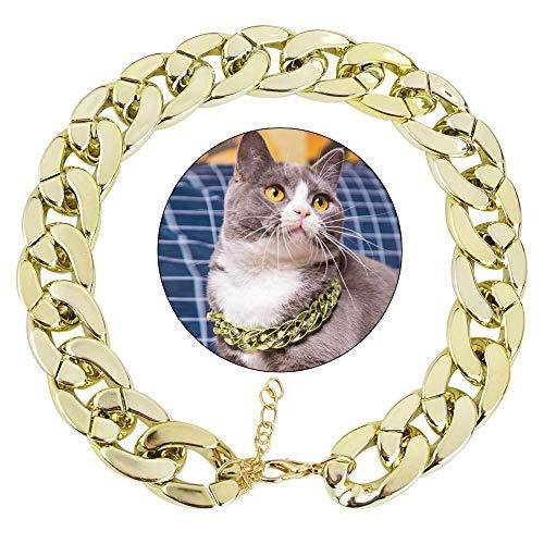 CHCY Hundespielzeug 2019 Haustier Hund Halskette Halsband Dicke Goldkette vergoldet Kunststoff Identifikation Sicherheitshalsband Welpen liefert 36 * 2cm Kauspielzeug