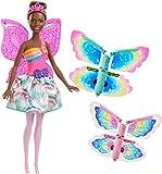 Barbie- Muñeca Hada alas mágicas Morena, Multicolor (Mattel FRB09)