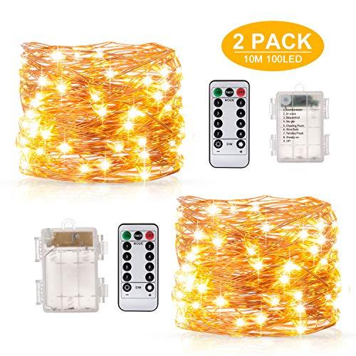 Guirnalda Luces Blanco Cálido10M 100 LED, BAKTH Cadena de Luces Impermeable IP67, Luces Navidad Pilas y Luces de...