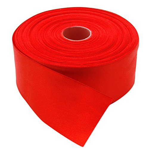 Topenca Supplies 2 Inches x 50 Yards Double Face Solid Satin Ribbon Roll, Red