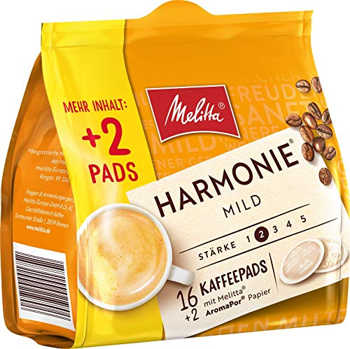Melitta Gemahlener Röstkaffee in Kaffeepads, 10 x 16+2 Pads, mild, milder Röstgrad, Stärke 2, Harmonie Mild, 1300 g