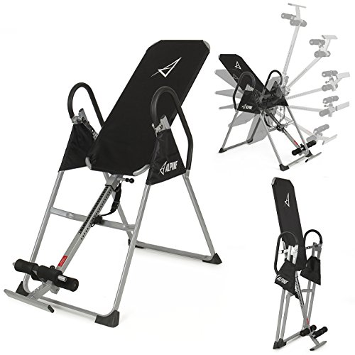 AKONZA Inversion Table Deluxe Fitness Chiropractic Back Pain Relief Exercise Gravity, (Black)