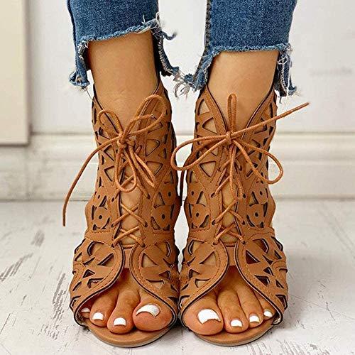 Sandalen Cut Out Gladiator-Sandalen mit Keil Ankle Boots Riemchen Lace Up Sommer Retro Frauen Schuhe,Gelb,43