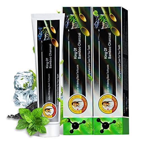 2 Pack Aktivkohle Zahnpasta 160g Natürliche Bamboo Charcoal Weiße Zähne Zahncreme Ohne Fluorid - Zahnaufhellung Zahnpasta Toothpaste Whitening