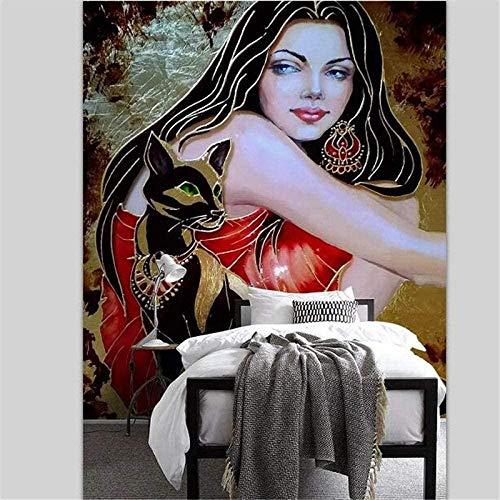XHXI Custom Wallpaper 3D Original European Creative Oil Painting Beauty Kitten Wallpaper 3D Wallpaper Living Room The Wall for Bedroom Mural border-150cm×105cm