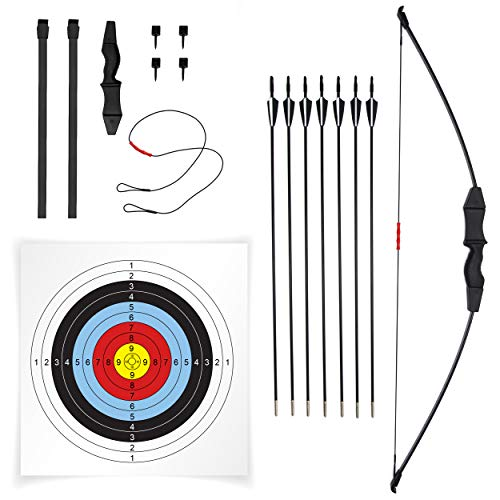 """JAKUNA 45"""" Recurve Bow and Arrow Set for Adults Youth Teens Kids Beginner Bows for Outdoor Archery Bow Set with 7 Arrows 10 Target Faces 4 Target Pins Gifts for Teens and Kids (Black)"""