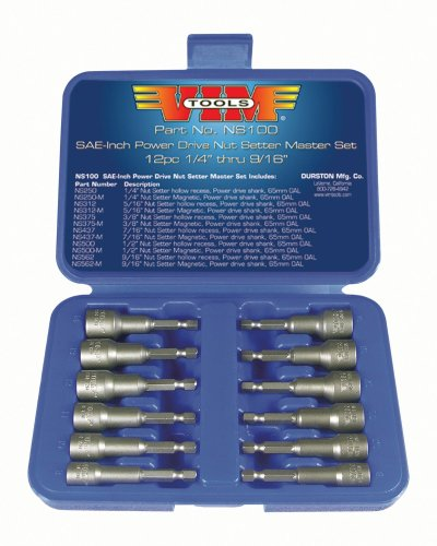 VIM Tools NS100 12-Piece SAE Power Drive Nut Setter with Magnetic and Hollow Point Drivers