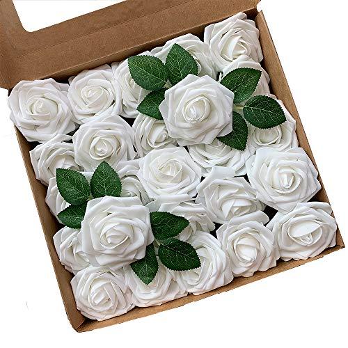 ACDE Fiori Artificiali, Rosa Artificiali 25 Pezzi Rose Finte Schiuma Aspetto Reale con Foglia e Gambo Regolabile per DIY Matrimoni Mazzi Nuziale Festa Casa Stanza Decorazioni (Bianco)