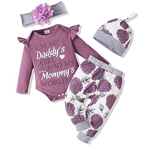 Renotemy Infant Girl Clothes Baby Girl Gifts Newborn Girl Outfits Cute 6-12 months Baby Girl Clothes Purple