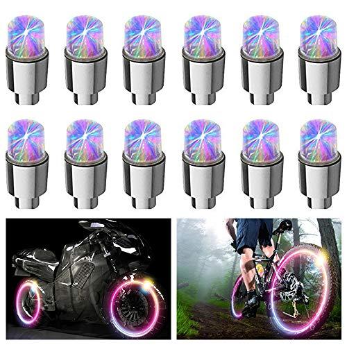 FICBOX 12 PCS LED Wheel Lights Flash Light Tire Valve Cap Lamp for Car Trucks Motorcycle Bike (Multicolor)
