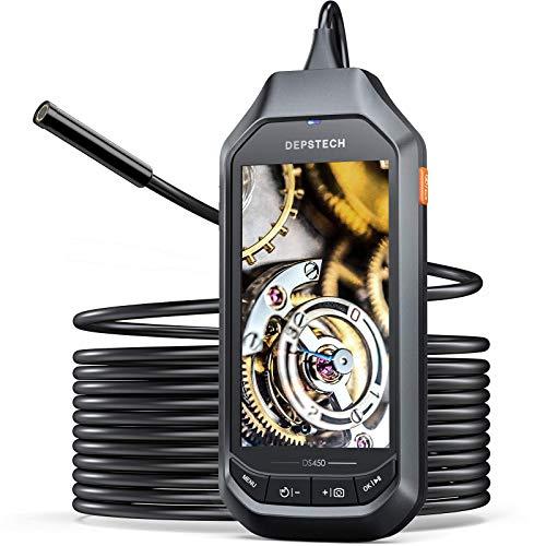 DEPSTECH Endoscopio de 5 MP con pantalla IPS de 4.5 pulgadas, borescopio industrial HD 1944P, cámara de inspección de 0.3 pulgadas,...
