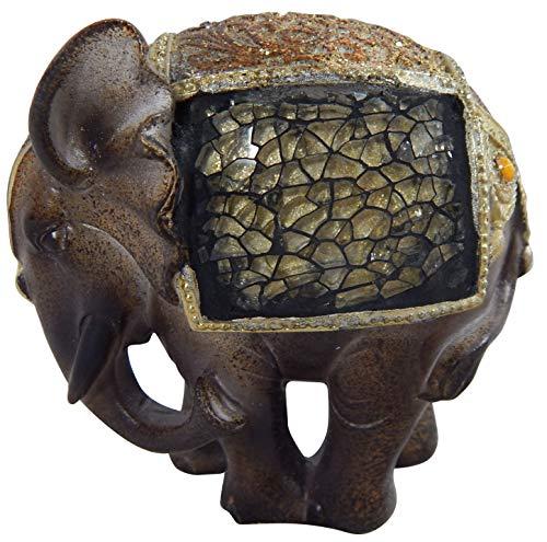 CH Trading - Elefante Madjab con Mosaico a Specchio, Misura Piccola, Colore: Marrone/Oro