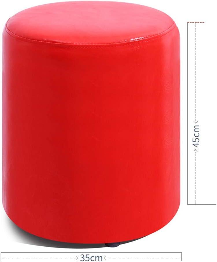Tabouret bas en cuir PU en bois massif, pratique, coloré, simple, résistant à l'usure, canapé à chaussures, tabouret à langer, haute 35/40/45 cm rouge-C Rouge-c.