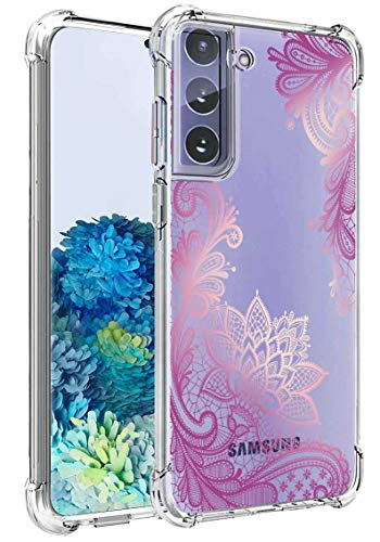 Lmposla for Galaxy S21 Plus Case, Shockproof Slim Ultra-Thin Flexible TPU Soft Silicone Airbag Anti-Drop Case Cover for Samaung Galaxy S21 Plus (Purple lace/Mandala)