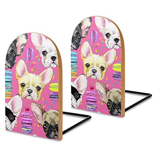 Wood Bookends for Shelves,Animal Dog French Bulldog Non Skid Book Ends for Office Home Kitchen,Bookends for Holiding Books 5x3 inch
