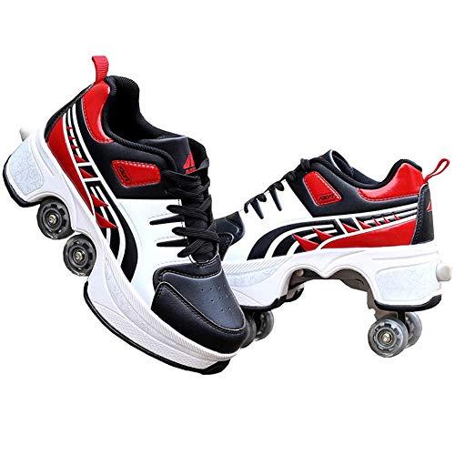 HealHeatersⓇ 2-In-1 Multifunktionale Quad-Rolls Deformation Schuhe Inline Skate Damen Herren Schuhe Mit Rollen Laufschuhe Sportschuhe Für Erwachsene,40