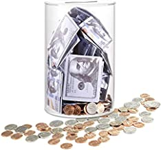 ARIAL Piggy Bank No Opening for Adults, Clear Piggy Bank Cash and Coin for Adults Boys Kids DIY Gift Table Decoration-Medium