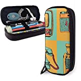 Pencil Pen Case Bag Vector conjunto de dispositivos retro. Sketch Style Vintage Colors. Cámara, teléfono, televisión, radio