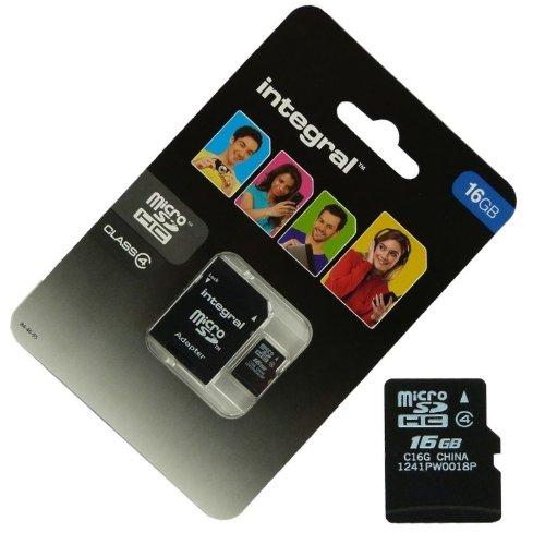 Acce2S Speicherkarte/Adapter mit integrierter microSDHC 16GB für Wiko Rainbow Jam 4g Micro SD HC + Adapt SD Integral