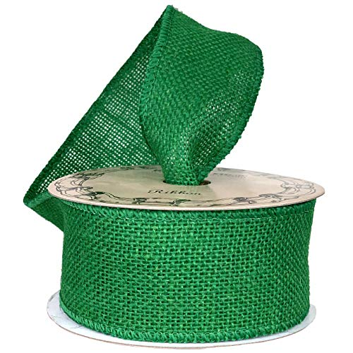 Emerald Green Fabric Burlap Ribbon - 2 1/2' x 10 Yards, Wired Edge, Christmas Tree Ribbon for Crafts, Rustic Jute Decor, St. Patrick's Day, Easter, Easter, Holiday Decor, Wreaths, Garlands, Swags