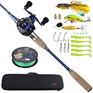 Sougayilang Fishing Baitcasting Combos, Lightweight Carbon Fiber Fishing Pole and 11+1BB Fishing Reel Right Hand for Travel 4-Piece Salt Fresh Water-Right Hand/6.9FT with Carrier Bag