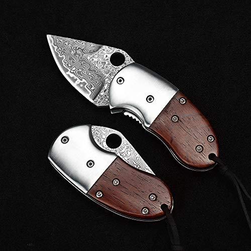 Shootey Klein Mini Damast Taschenmesser Klappmesser Holzgriff Damaststahl Messer Damastmesser, 5 cm Klinge