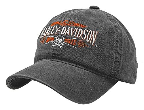 Harley-Davidson Herren-Baseballkappe, verstellbar, verwaschenes Schwarz