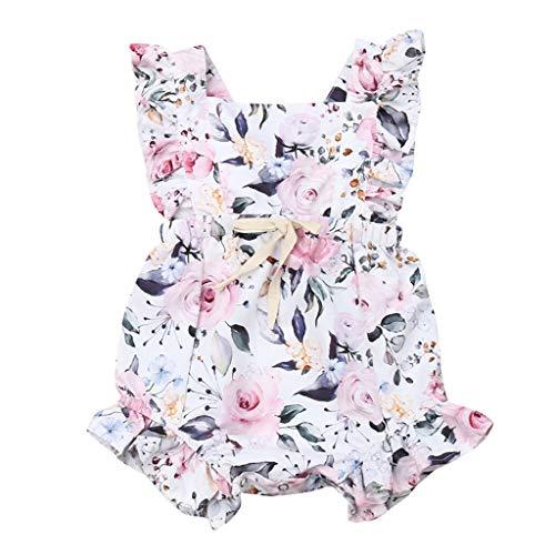 HWTOP Baby Mädchen Strampler Neugeborenes Body Ärmellose Jumpsuits Rüschen Blumendruck Overalls Romper Jumpsuit, Weiß, 12-18 Monate