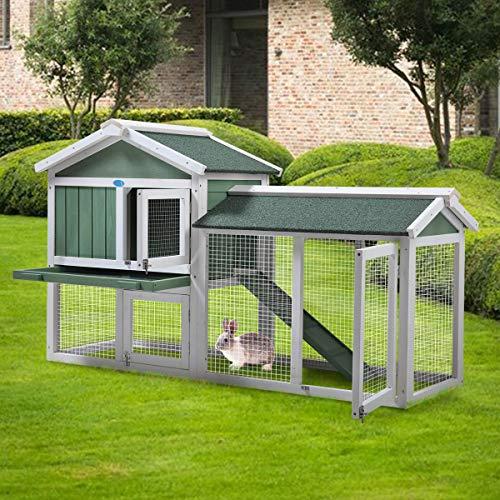 Sandinrayli 2-TierOutdoor Wooden Rabbit Chicken Pet Hutch House with Run, Elevated Retreat, Ramp,...