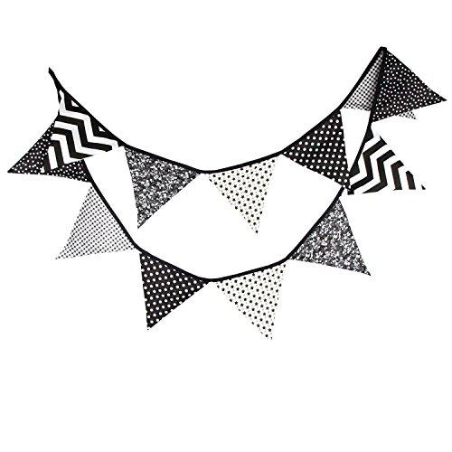 Banderines de tela de algodón vintage floral banderines colgantes guirnalda para baby shower, decoración de fiesta interior y exterior (negro y gris)
