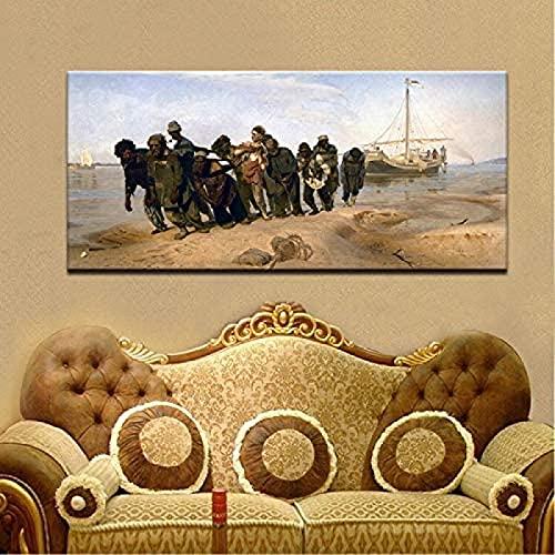 SXXRZA Póster de Obras de Arte de 50x100 cm sin Marco, decoración del hogar para el Dormitorio, Pintor Famoso Ilya Repin, rastreadores del río Volga, Famosos