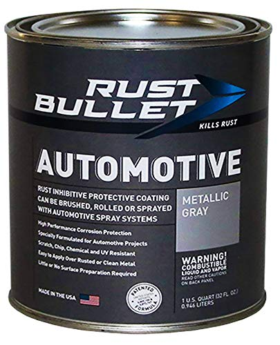 RUST BULLET Automotive - Rust Preventive Protective Coating, Rust Inhibitor Paint, UV Resistant - No Topcoat Needed (Quart, Metallic Gray)