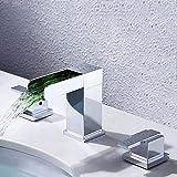 Waniyin todos cobre tres agujeros grifo cascada LED luz grifo baño lavabo grifo