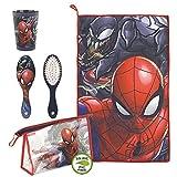 CERDÁ LIFE'S LITTLE MOMENTS, Neceser Infantil Completo de Spiderman-Licencia Oficial Marvel para Niños, Rojo, Especialmente recomendado 2 a 8 años