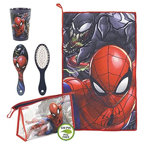 CERDÁ LIFE'S LITTLE MOMENTS, Neceser Infantil Completo de Spiderman-Licencia Oficial Marvel para Niños, Rojo, Especialmente recomendado 2 a 8 años 🔥