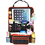 Leylicoo Car Back Seat Organizer with iPad Tablet Holder Max 12.9 Inch with Many Compartments for Kids and Car Trips, Multiple Use as Anti Kicking Mat & Auto Backseat Protector Two Minutes Setup