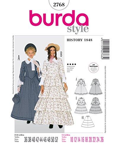 Burda 2768 Schnittmuster Kostüm Fasching Karneval Biedermeier-Kleid (Damen, Gr, 36 - 52) Level 4 fortgeschritten
