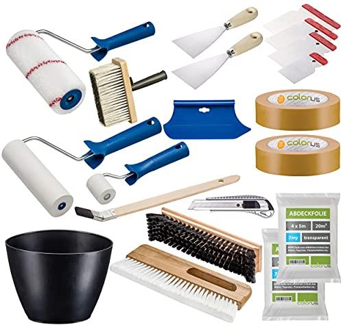 Colorus Profi Tapezier Set 17-teilig   Tapezierwerkzeug Set für Vliestapete Renovierungsset   Cuttermesser Andrückroller Tapezierbürste Deckenbürste Kleisterwalze   Malerwerkzeug Malerbedarf