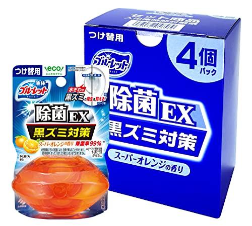 液体ブルーレットおくだけ 除菌EX トイレタンク芳香洗浄剤 詰め替え用 4個パック スーパーオレンジの香り 70ml