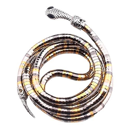 CeFurisy Collar Punk – Collar flexible de serpiente flexible, Hip Hop Punk Cool Irregular Collar de metal de serpiente ajustable multicapa joyería de serpiente