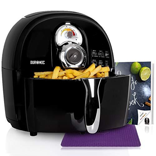 Duronic AF1 /BK (Ricondizionato) Friggitrice ad Aria 1500 W - Friggitrice senza olio - Robot da cucina multifunzionale per friggere con libro di ricette