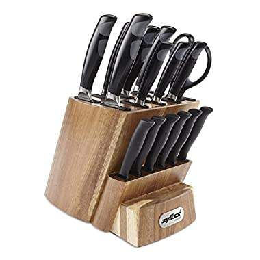 ZYLISS Control Kitchen Knife Set with Block - Professional Cutlery Knives - Premium German Steel - Chefs, Santoku, Bread, Carving, Utility, Paring, Shears and Steak Knives, 16-Piece