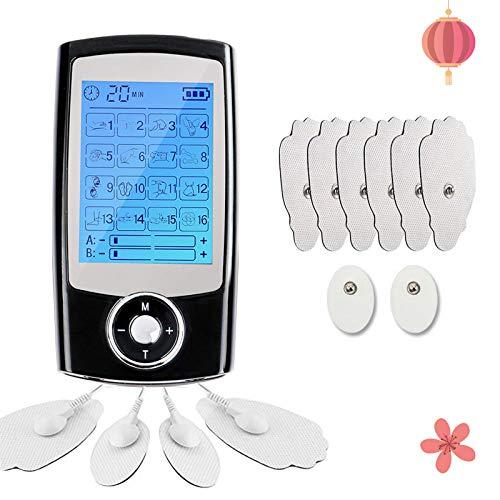 Monlida Electroestimulador Masaje EMS y TENS, 16 Modos 2 Canales, Masajeador de Pulso Electrónico