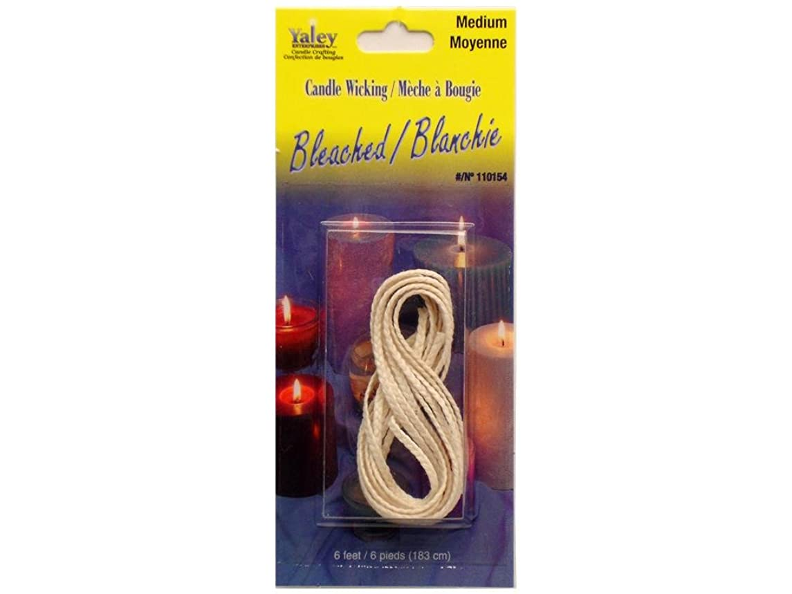 Yaley Enterprises Candle Crafting Medium Flat Braid Candle Wick, 6-Feet