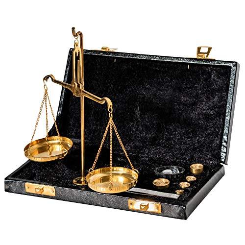 Waage Feinwaage Goldwaage im Etui Messing Apothekerwaage Antik-Stil - 19cm