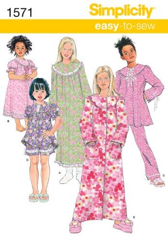 Simplicity 1571 Schnittmuster für Mädchen, Oberteil, Hose und Nachthemd, Größen 3–6