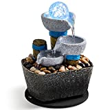 Tabletop Fountain Tabletop Waterfall Meditation Fountain Indoor Fountain Decorative Fountain Office Home Leisure and Relax Mini Tabletop Pool Leisure Fountain Including Many Natural River Rocks