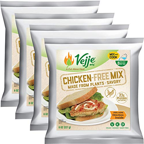 Vejje Meat-Free Mixes - CHICKEN-FREE MIX (4-Pack) (Four 8oz Bags, Each Bag Makes 1.25 lbs for 5 lbs Total) Vegan Meat Substitute. Plant-Based Meat Alternative for Sandwiches, Nuggets, BBQ & More