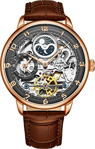 Stuhrling Original Mens Skeleton Automatikuhr - Analoges Zifferblatt, Dual Time, AM/PM Sun Moon 3925 Herrenuhr für Armbanduhren (Rose Gold)